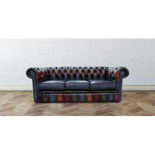 Dubois Antique Genuine Leather 3 Seater Chesterfield Sofa