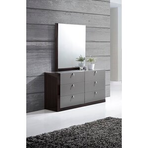 Carmichaels 6 Drawer Double Dresser with Mirror by Wade Logan