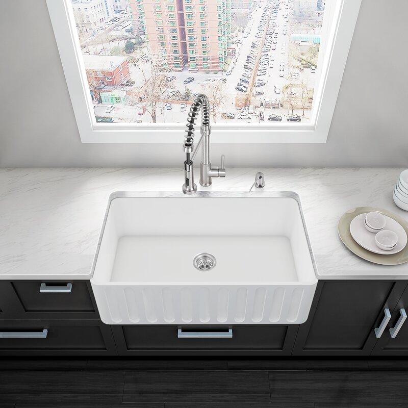 VIGO 36 inch Farmhouse Apron Single Bowl Matte Stone Kitchen Sink ...