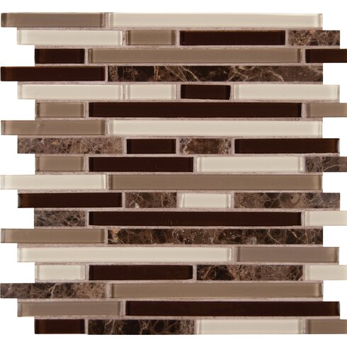 Royal Oaks Blend Interlocking Pattern Gl Mosaic Tile In Brown
