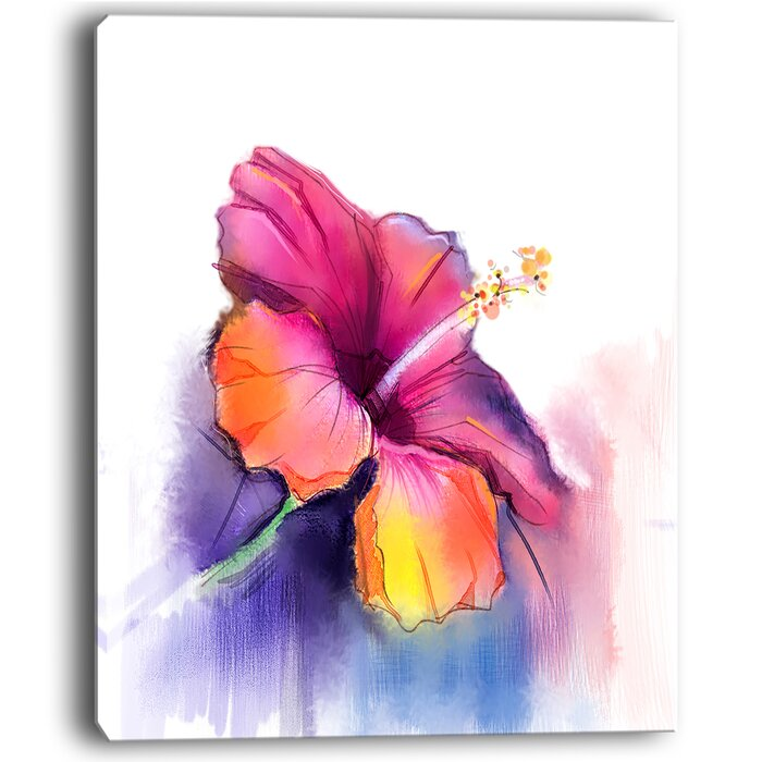 Designart red yellow hibiscus flower in blue large flower painting red yellow hibiscus flower in blue large flower painting print on wrapped canvas mightylinksfo