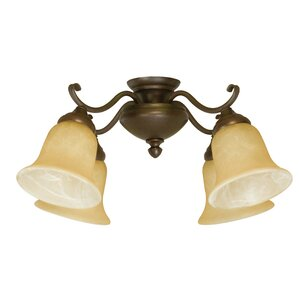 4 Light Glass Shade Branched Ceiling Fan Light Kit