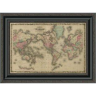 World map magnetic wayfair world map framed print gumiabroncs Gallery