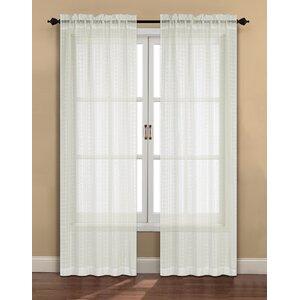 Plaid & Check Sheer Rod Pocket Curtain Panels (Set of 2)