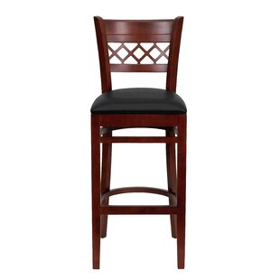 Escarcega Lattice Back Wooden Restaurant Bar Stool