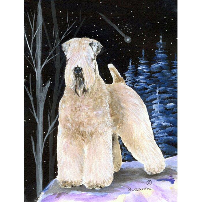 Starry Night Wheaten Terrier Soft Coated House Vertical Flag