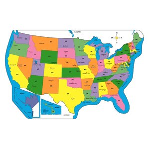 Childrens Wall Maps Youll Love Wayfair - Us map labeled