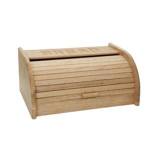 White Embossed Bread Bin Bamboo Effect Lid Bread Loaf Storage Crock Bin Tin Food & Kitchen Storage Bread Bins