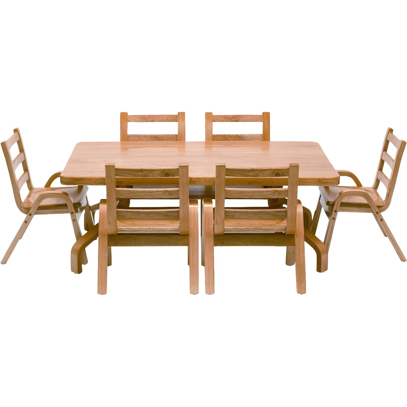 Angeles NaturalWood 20 Rectangle Preschool Table And Chair Set Re