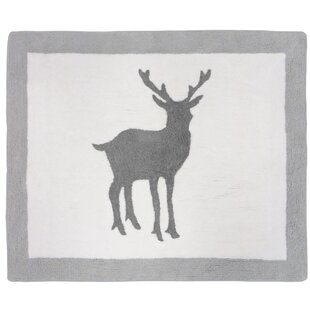 Woodland Animals Hand Tufted Gray White Area Rug