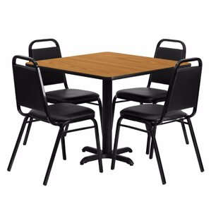 Alvarado Square Laminate 5 Piece Solid Back Dining Set by Red Barrel Studio