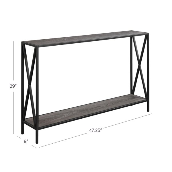 Andover Mills Abbottsmoor Metal Frame Console Table Reviews Wayfair - Metal table with shelves