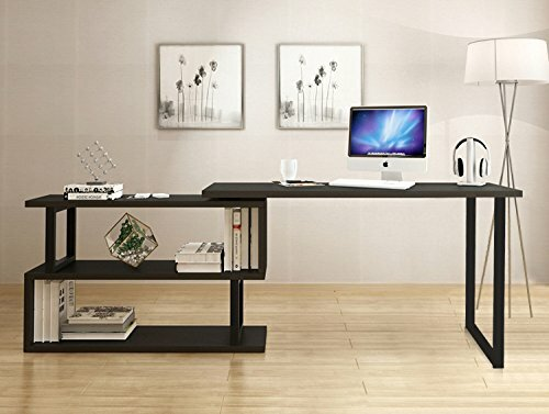 Canale Modern Rotating Corner L Shaped Desk With Bookshelves
