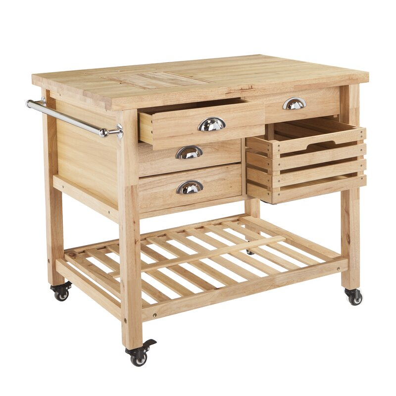 august grove ellisville kitchen cart with wood top & reviews   wayfair