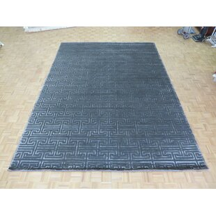 Compare One-of-a-Kind Donnelly Modern Maze Hand-Knotted 10'1 x 13'11 Wool/Silk Gray/White Area Rug By Isabelline