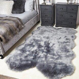 Tindall Super Soft Fluffy Shaped Sheepskin Handmade Shag Gray Area Rug
