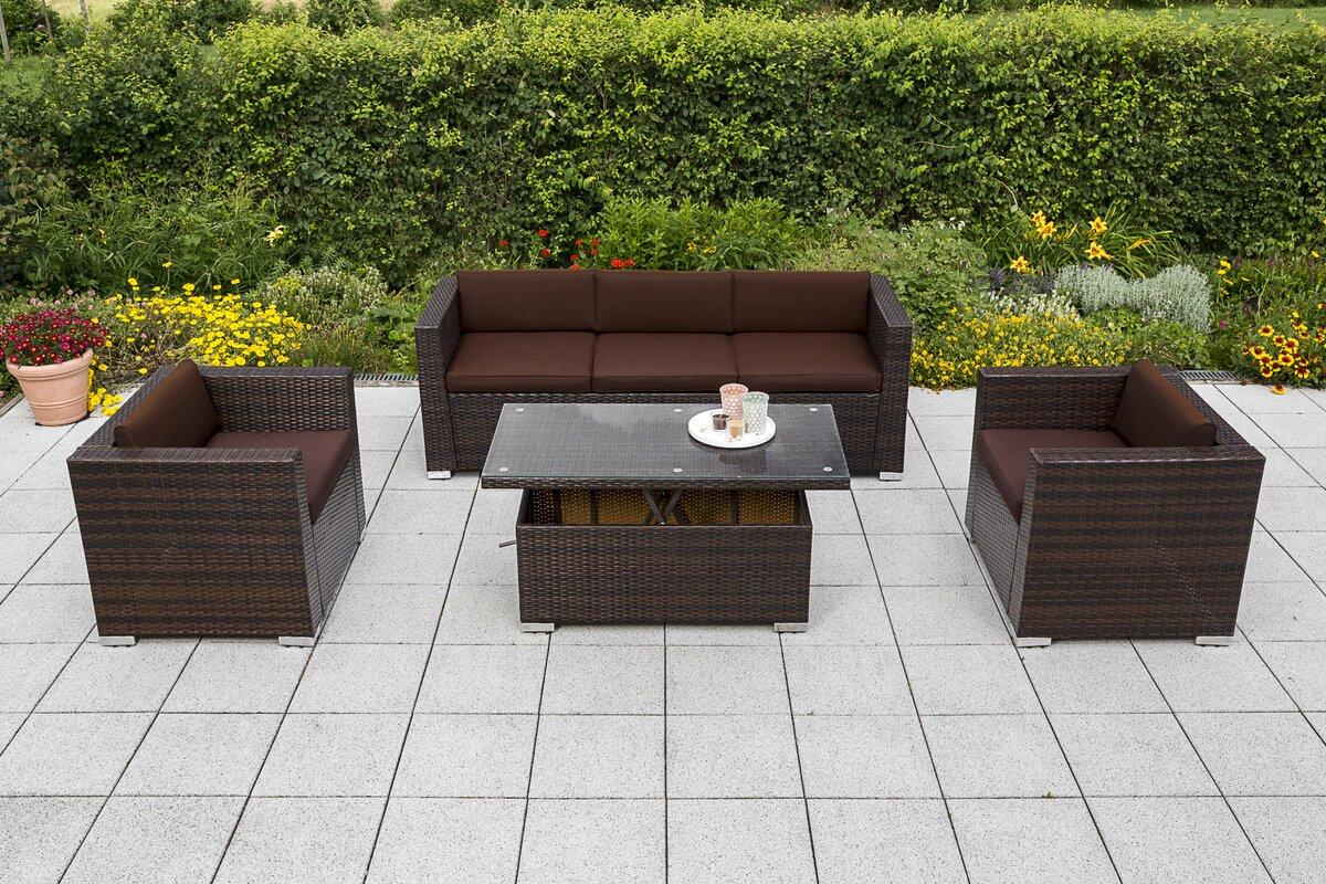 garten living 5 sitzer sofa set bower mit kissen. Black Bedroom Furniture Sets. Home Design Ideas
