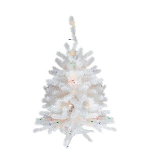 2 snow white pine artificial christmas tree with 50 multi colored lights with stand