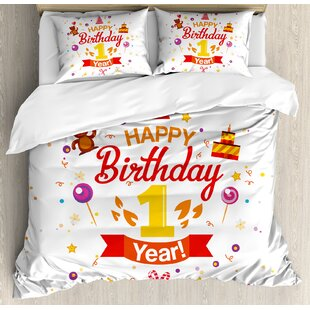 1st Birthday Decorations Party With Cones Teddy Bear Candies And Cake Duvet Cover Set