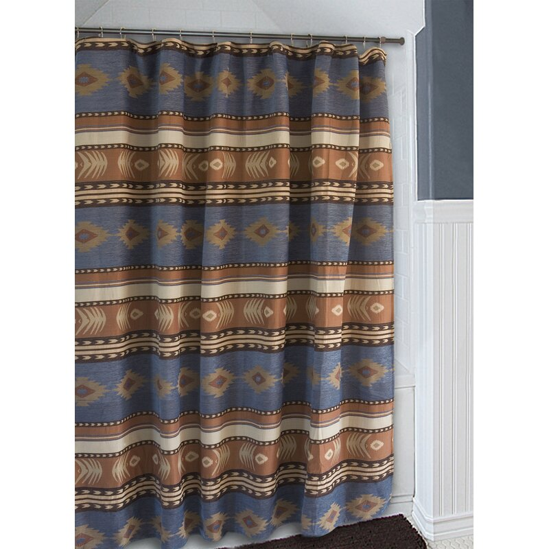 Loon Peak Branford Denim Blue and Brown Southwest Western Shower ...