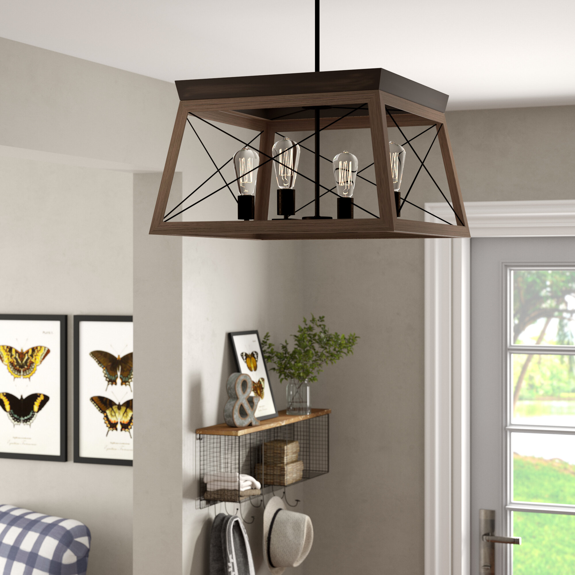 Laurel Foundry Modern Farmhouse Delon 4 Light Foyer Pendant & Reviews