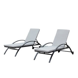 Liggins Outdoor Sun Lounger Set With Cushion (Set Of 2)