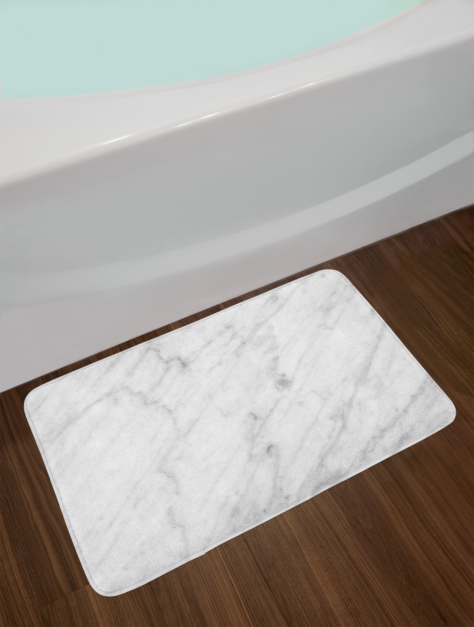 East Urban Home Carrara Dust Grey White Marble Bath Rug Wayfair