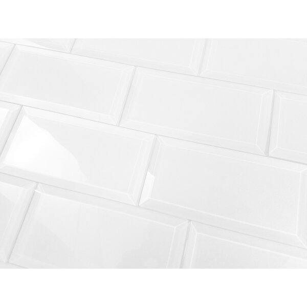 """Glossy White Contemporary Clear Temper Glass Sleek Modern: Frosted Elegance 3"""" X 6"""" Glass Subway Tile In Glossy White"""