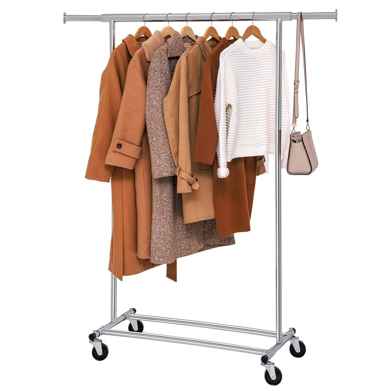 SONGMICS Clothes Garment Rack with Shelf on Wheels Maximum Capacity 198.41lbs Heavy Duty Clothing Rack Extendable /& Collapsible UHSR13S