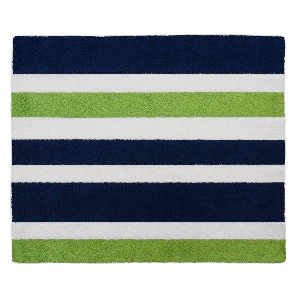 Sweet Jojo Designs Navy Blue and Lime Green Stripe Bath Rug & Reviews | Wayfair