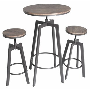 Beau Hoskins Round Wood Top Metal Bar Bistro 3 Piece Adjustable Pub Table Set