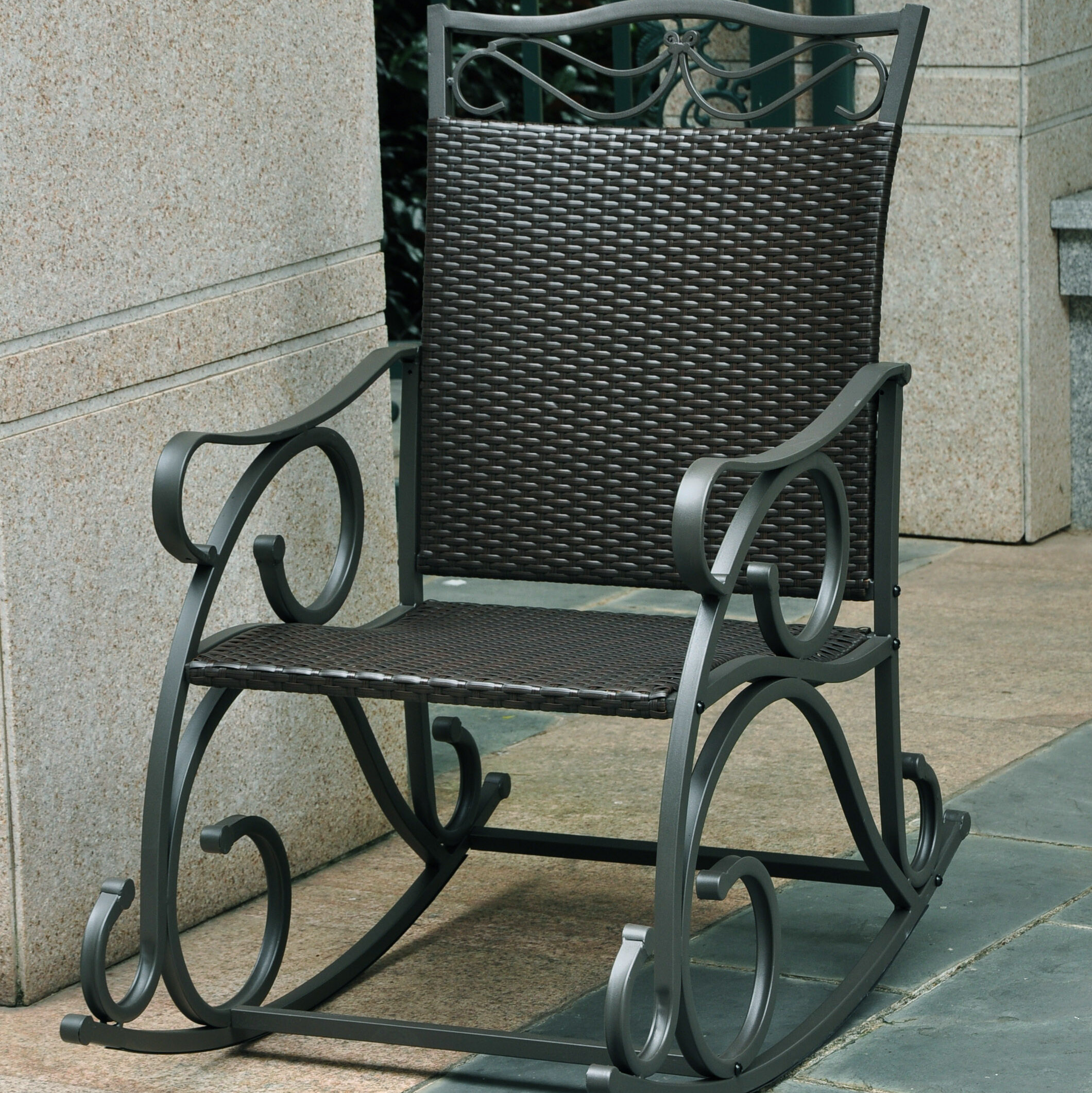 Three Posts Snowberry Wicker Resin & Steel Patio Rocking Chair