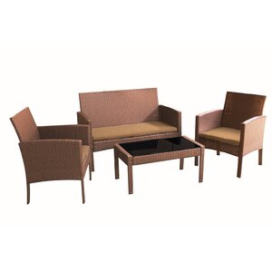 Castanon 4 Piece Sofa Set with Cushions