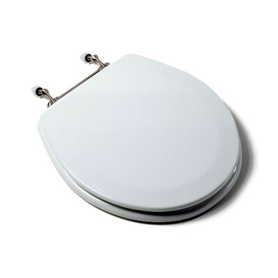 Comfort Seats Deluxe Molded Wood Round Toilet Seat Finish: White, Hinge Finish: Brushed Nickel