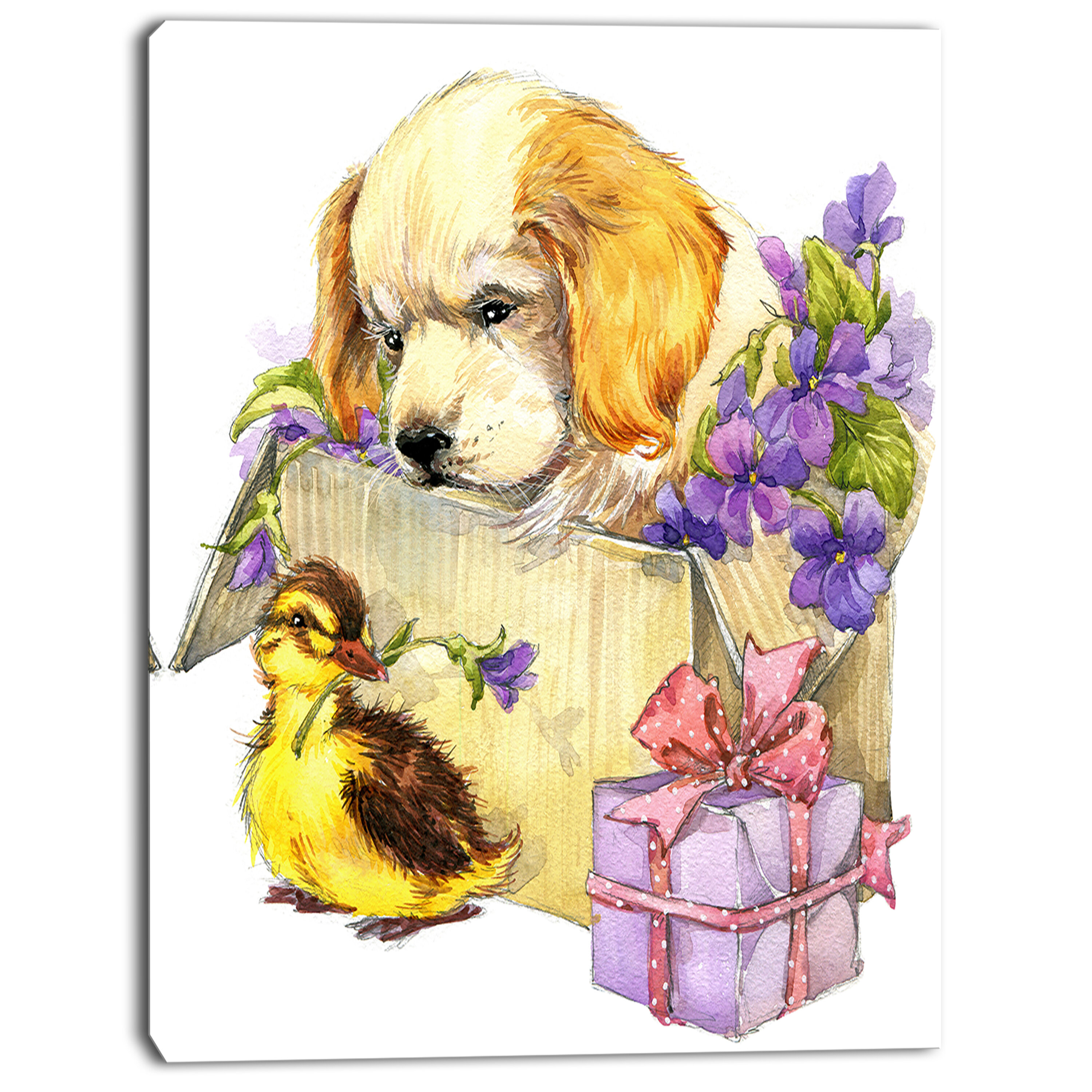 DesignArt \'Cute Puppy Dog and Duck\' Painting Print on Wrapped Canvas ...