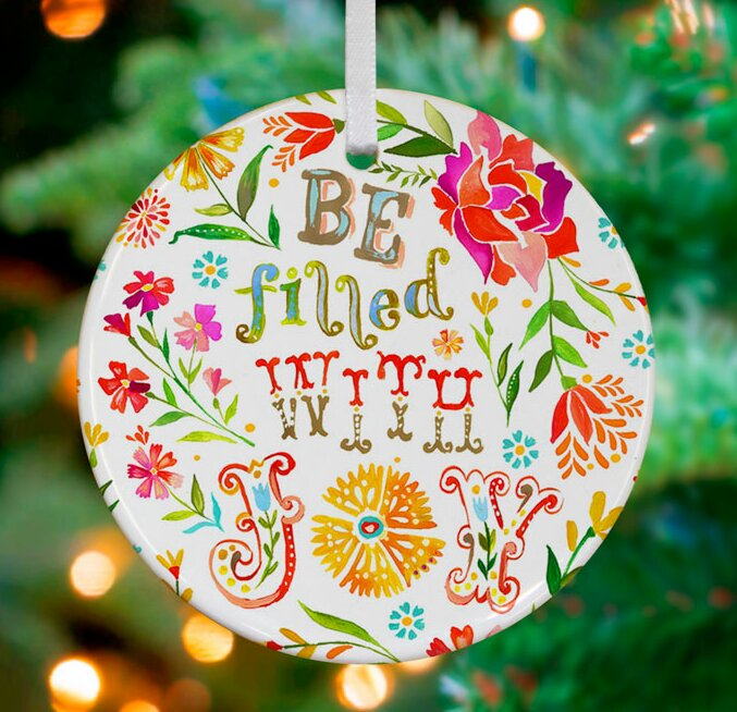 Be Filled With Joy Personalized Ornament By Katie Daisy