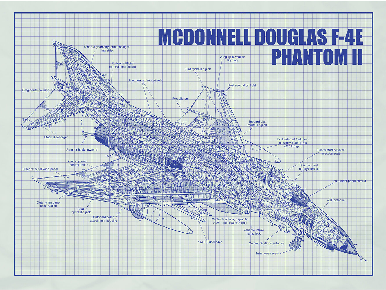 9835cad4 Inked and Screened Aviation Cutaways 'McDonnell Douglas F 4E Phantom II'  Silk Screen Print Graphic Art in White Grid/Blue Ink | Wayfair