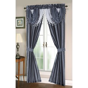 Dumont Complete Taffeta Window In A Bag Set Solid Semi Sheer Thermal Grommet Curtain Panels Of 2