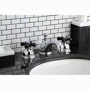 Restoration Onyx Double Handle Widespread Bathroom Faucet with Pop-Up Drain