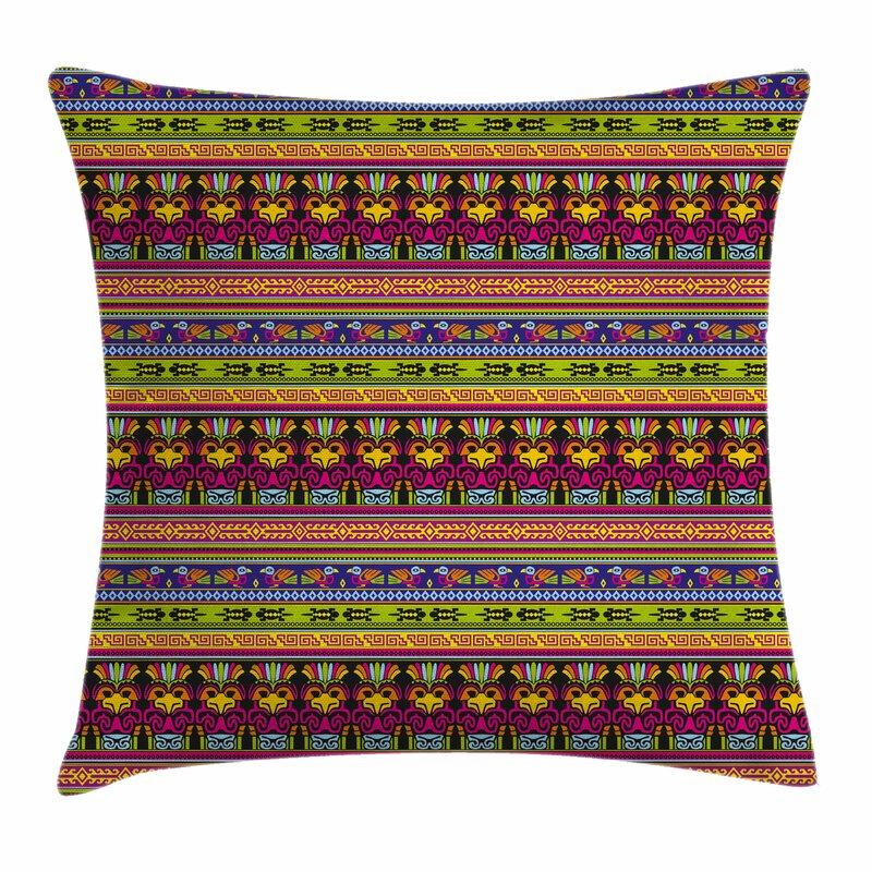Ambesonne Primitive Decor Aztec Borders Square Pillow Cover Wayfair Classy Primitive Pillow Covers