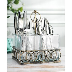 4 section square utensil caddy with handle
