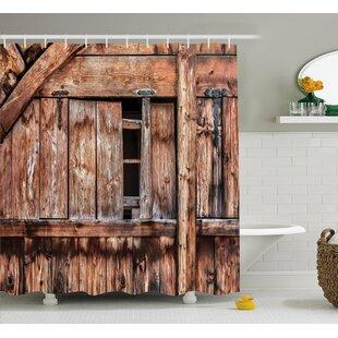 Rustic Oak Abandoned Barn Door Single Shower Curtain