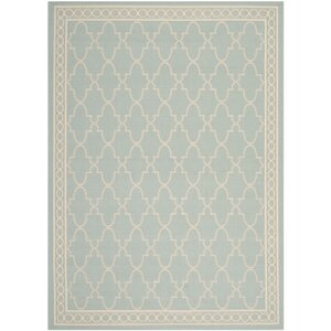 Short Aqua/Beige Outdoor Rug