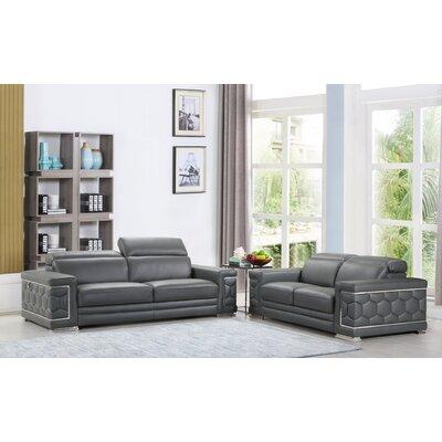Grey Leather Living Room Sets You Ll Love Wayfair