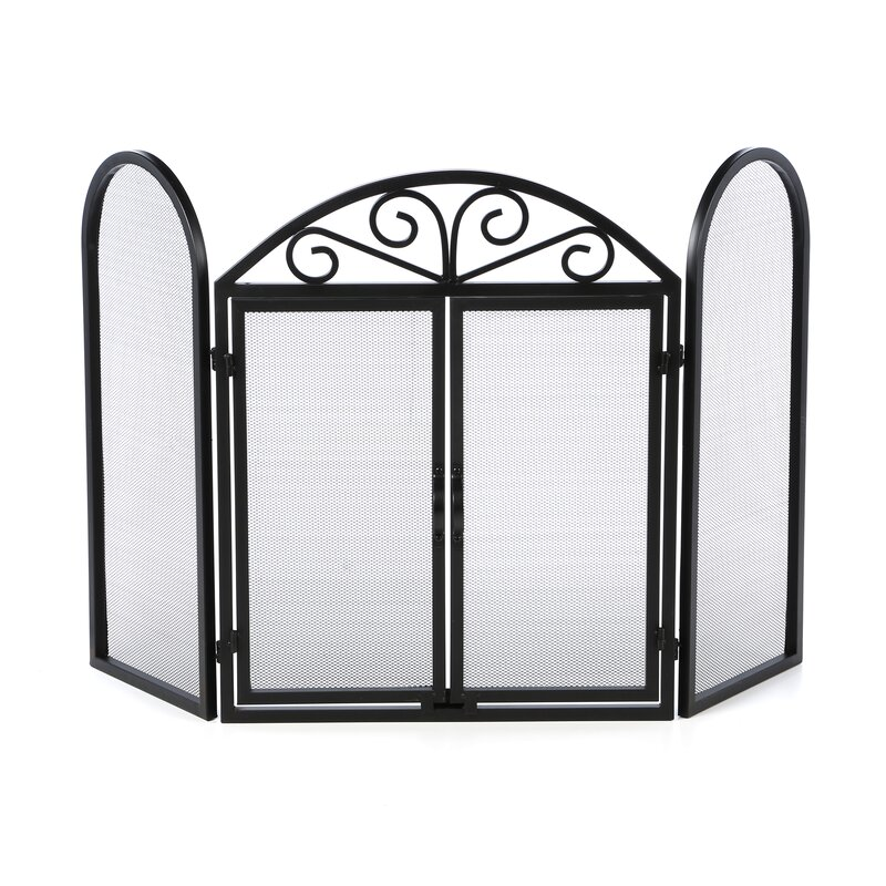 Uniflame 3 Panel Wrought Iron Fireplace Screen with Opening Doors ...