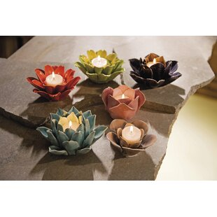 Lotus flower candle holder wayfair assorted flower ceramic candle holders set of 6 mightylinksfo