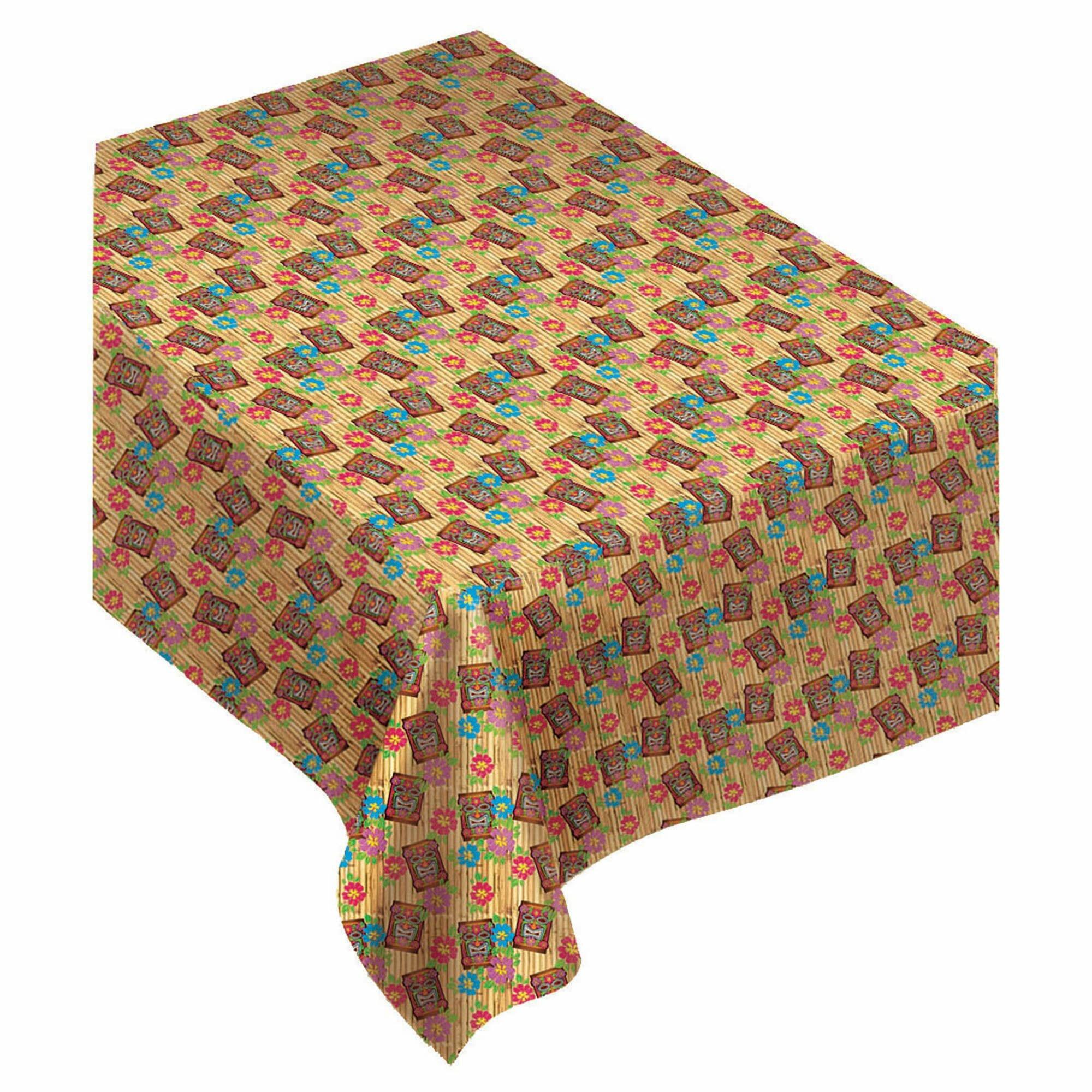 Summer Luau Tiki Flannel Backed Vinyl Tablecloth