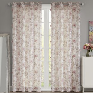 Bainsby Floral Printed And 3D Embellished Eyelet Sheer Curtains Set Of 2