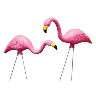 Pink Flamingo 2 Pieces Garden Stake Set
