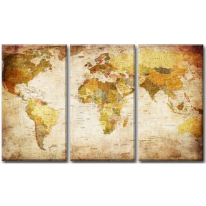 Akrima 'World Map' Graphic Art Print Multi-Piece Image on Canvas